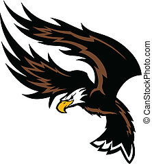 Flying Eagle Wings Mascot Design - Graphic Mascot Image of a...
