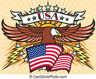 Flying eagle with USA flag, Eagle holding flag of United...