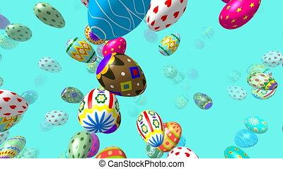 Flying easter eggs 3D 4K video - Flying easter eggs...