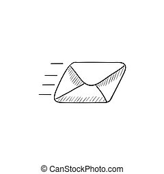 Flying email sketch icon.