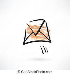 flying envelope grunge icon