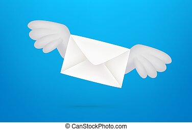 Flying envelope with wings. 3d style vector banner