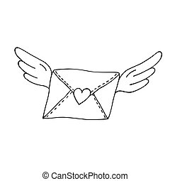 Flying envelope with wings and heart