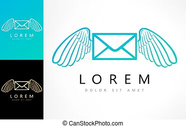 Flying envelope with wings logo