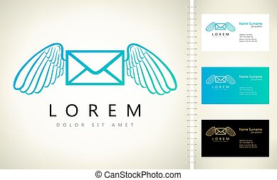 Flying envelope with wings logo vector