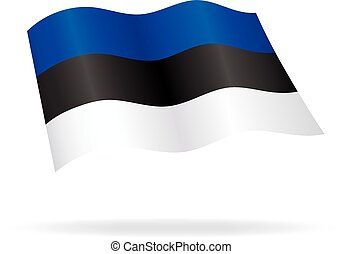 flying estonian flag estonia silk vector