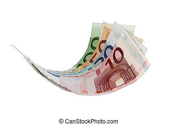 Flying Euro bank notes
