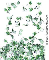 Flying euro banknotes