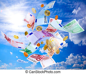 Flying Euro money - Euro banknotes and coins falling from ...