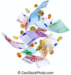 Flying Euro money - Falling Euro banknotes and coins...