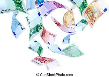 Flying Euro money - Falling Euro banknotes on a white ...