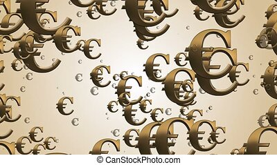 Flying Euro money signs