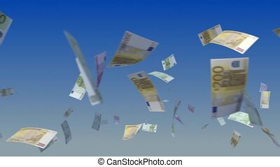 Flying Euro notes on sky background