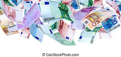 Flying Euro - Panoramic image of falling Euro banknotes ...