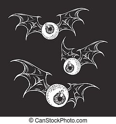 Flying eyeballs with creepy wings halloween design