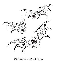 Flying eyeballs with creepy demon wings black and white halloween theme print design hand drawn vector illustration.