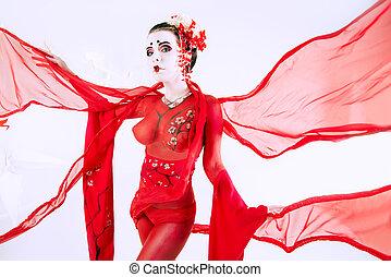 flying fabric - Art portrait of a stylized Japanese geisha....