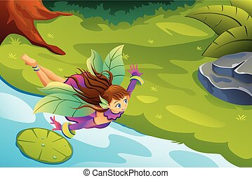 Flying Fairy Fantasy Illustration
