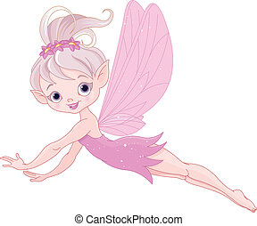 Flying Fairy - Illustration of cute pink fairy flying