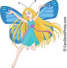 Flying fairy  -  Illustration of flying beautiful fairy