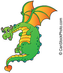 Flying fairy tale dragon - vector illustration.