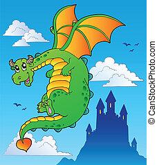 Flying fairy tale dragon near castle - vector illustration.