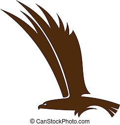 Flying falcon or hawk - Side view silhouette of a flying...