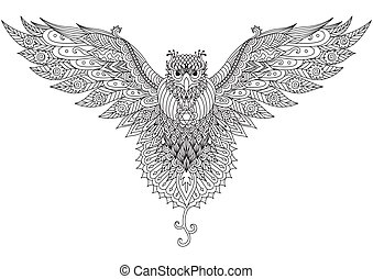 Flying falcon zendoodle design for t-shirt...