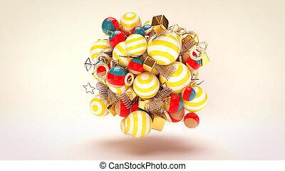 Flying Festive Multicolored Balls