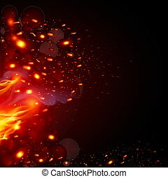 Fiery Sparks - Flying Fiery Sparks with Fire. Burning Fire...