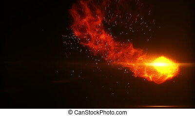 flying fireball with sparks loop