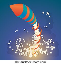 Flying firework rocket with a ribbon and stars in the night sky