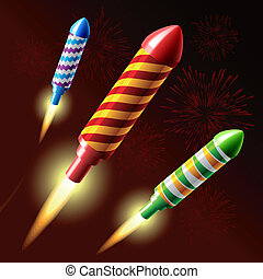 Flying fireworks rocket - Vector illustration of flying...