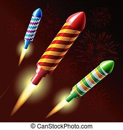 Flying fireworks rocket - Vector illustration of flying...
