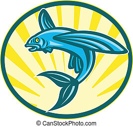 Flying Fish Jumping Retro Woodcut - Illustration of a flying...