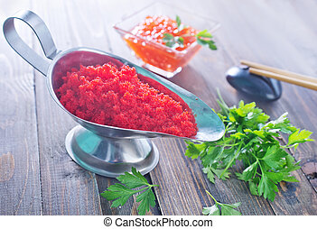 flying fish roe - flying fish ROE, red caviar in metal bowl