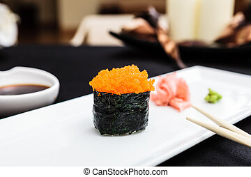 Flying fish roe masago served on a plate - Flying fish roe ...
