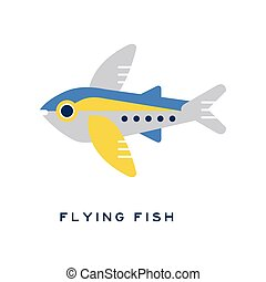 Flying fish, sea fish geometric flat style design vector Illustration