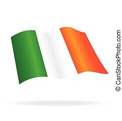 Flying Flag of Ireland Vector Image