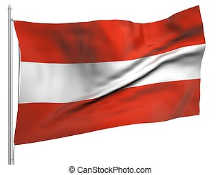 Flying Flag of Austria - All Countries