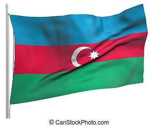 Flying Flag of Azerbaijan - All Countries