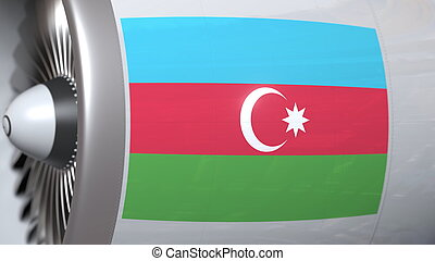 Flying flag of Azerbaijan on airplane tourbine engine. Aviation related 3D rendering