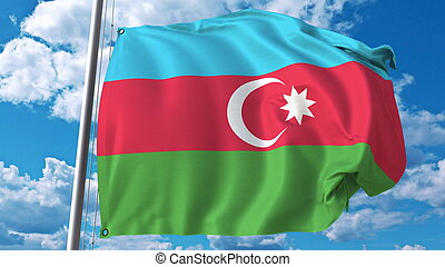 Flying flag of Azerbaijan on sky background. 3D rendering