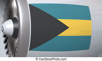 Flying flag of Bahamas on airliner tourbine engine. Aviation related 3D rendering