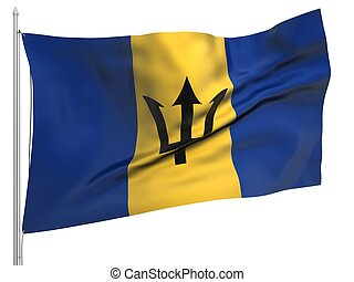 Flying Flag of Barbados - All Countries