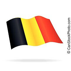 Flying Flag of Belgium Vector Image