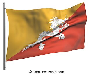 Flying Flag of Bhutan - All Countries