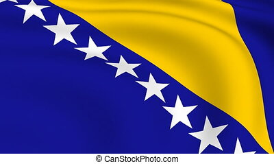 Flying Flag of Bosnia and Herzegovina | LOOPED |