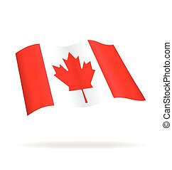 flying flag of Canada vector