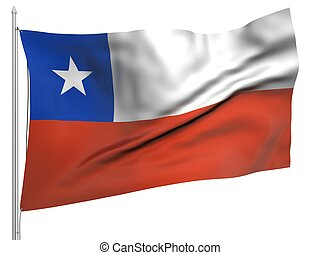 Flying Flag of Chile - All Countries